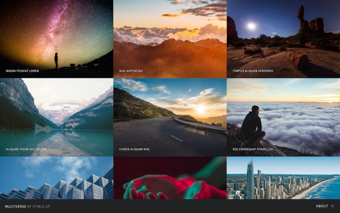 multiverse free photography website template
