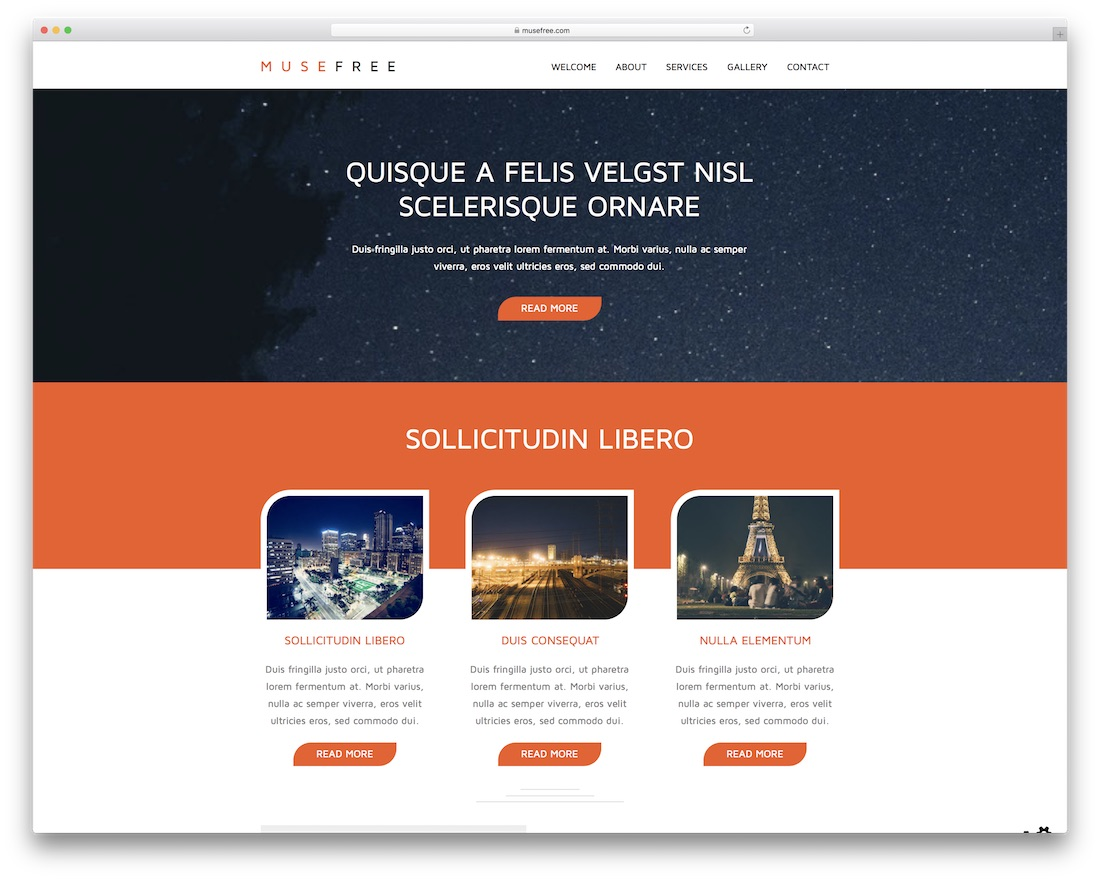 muse one page free adobe muse template