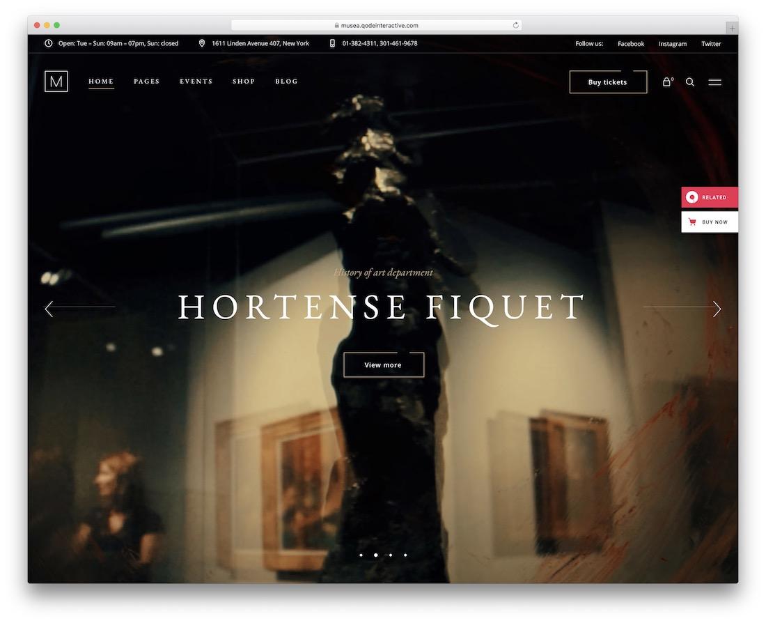 musea wordpress theme for artists