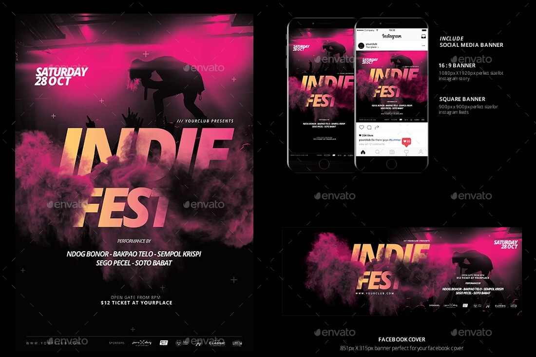 music flyer social media banner