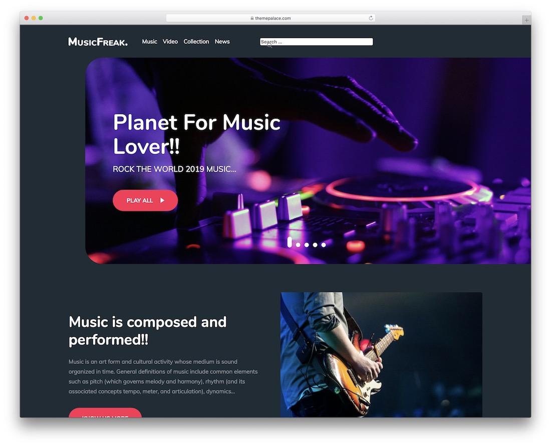 music freak free wordpress theme