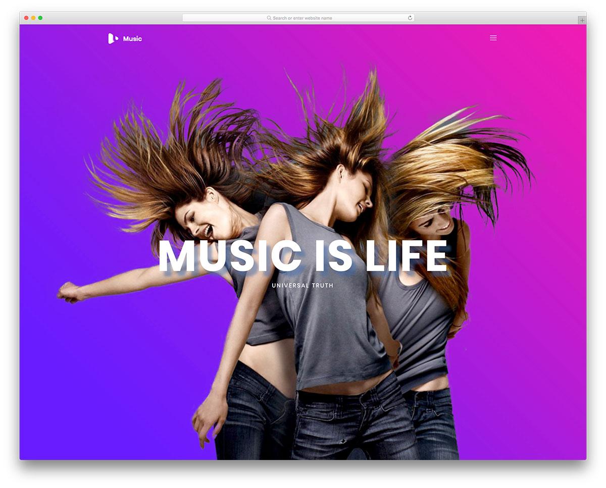 Скачать бесплатно html шаблон Music