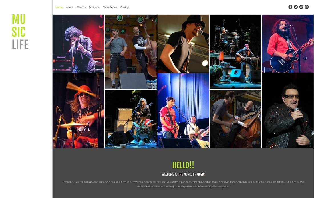 music life free music website template