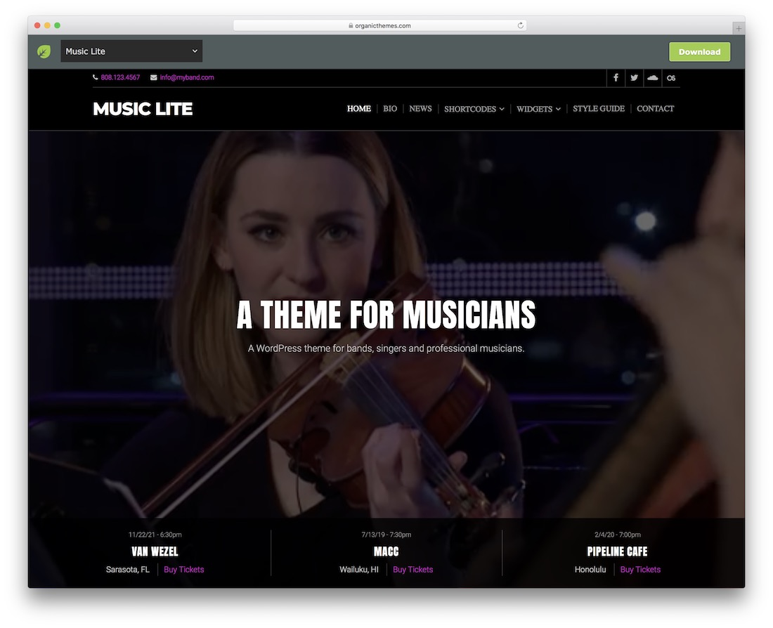 music lite free band wordpress theme