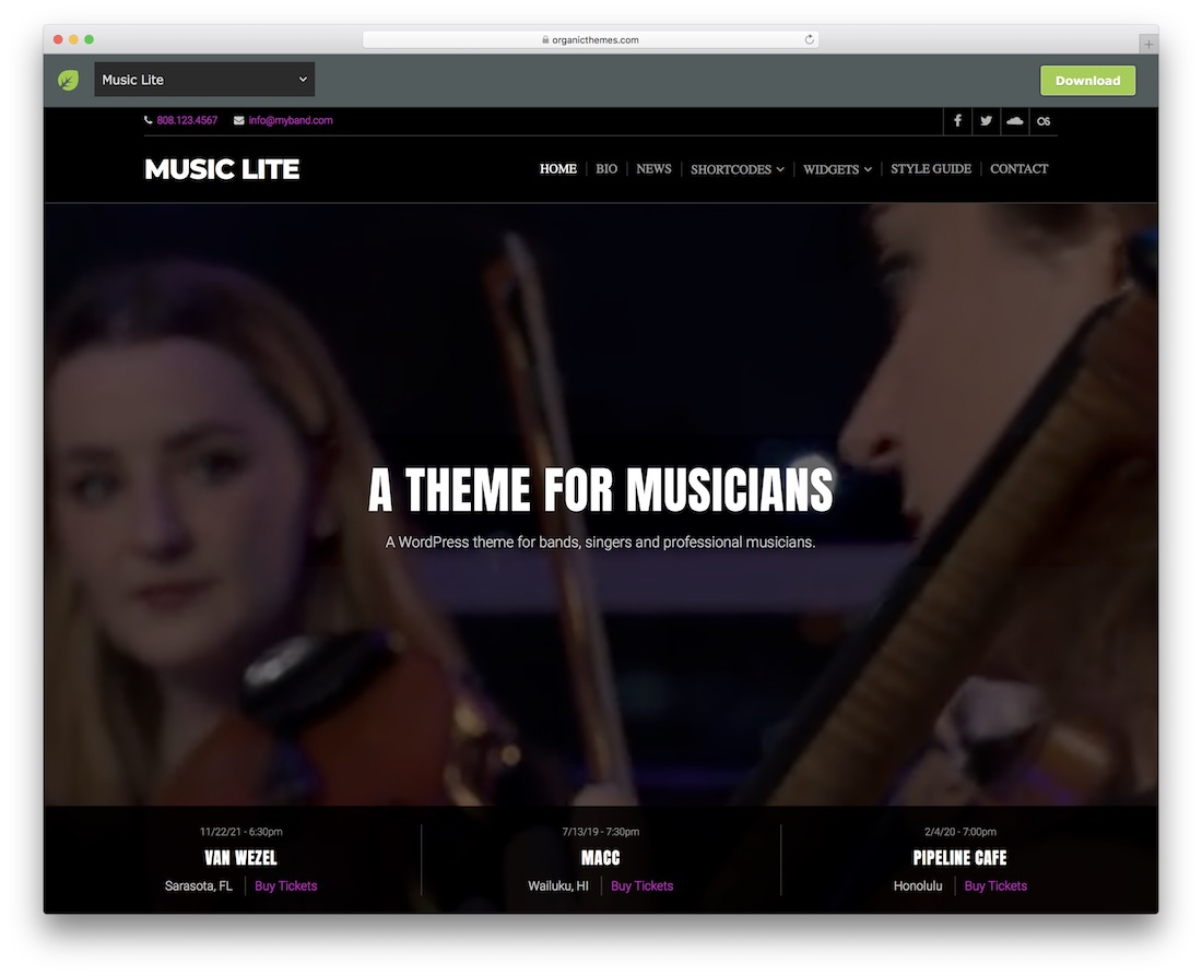 music lite free wordpress theme