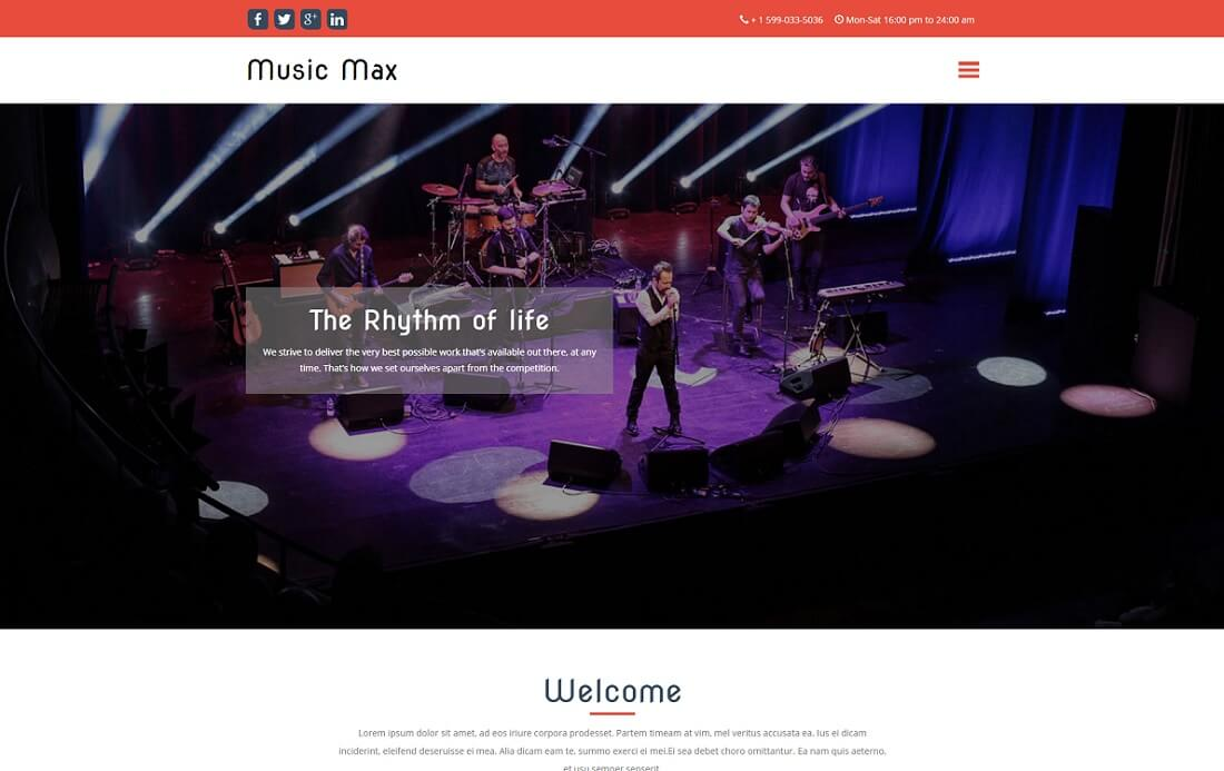 music max free music website template