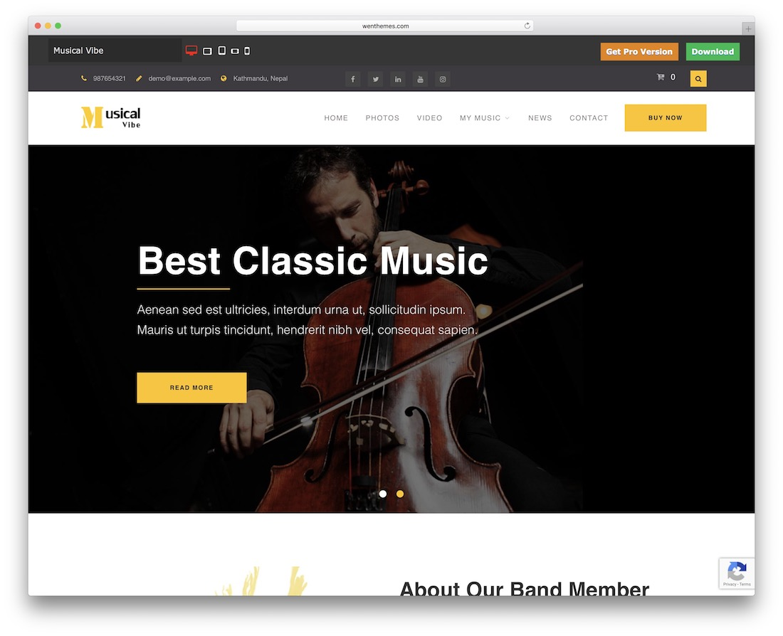 musical vibe free band wordpress theme