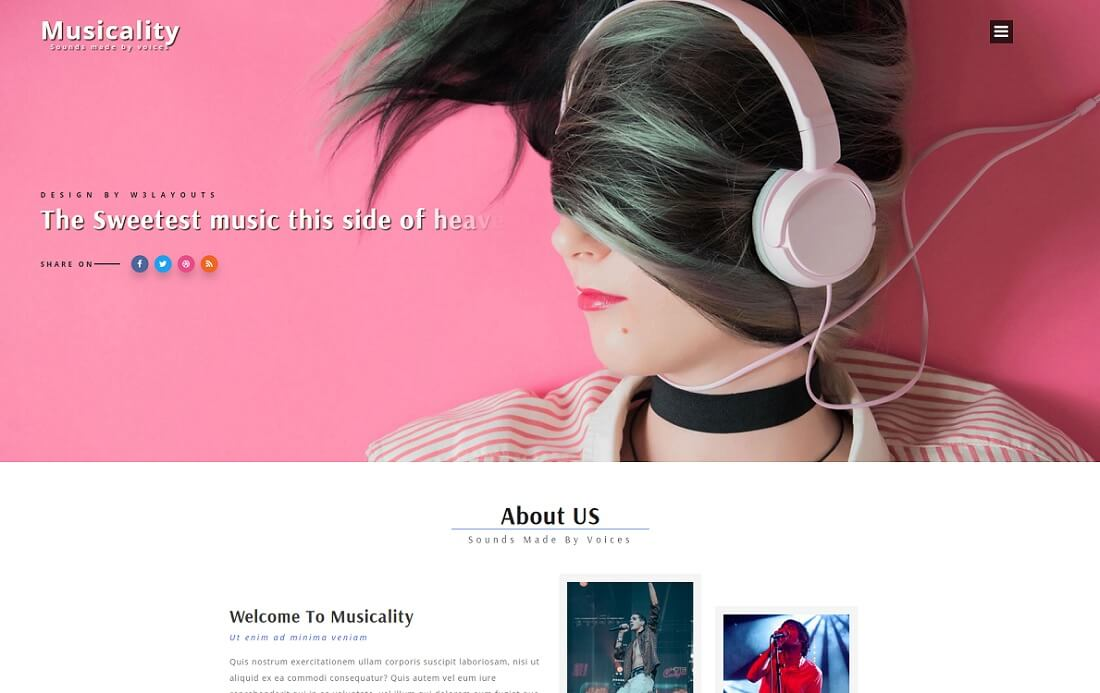 musicality free music website template