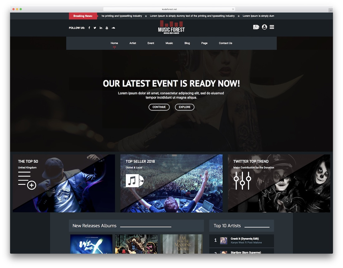 musicforest artist website template