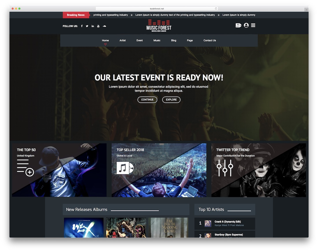 musicforest bootstrap music template