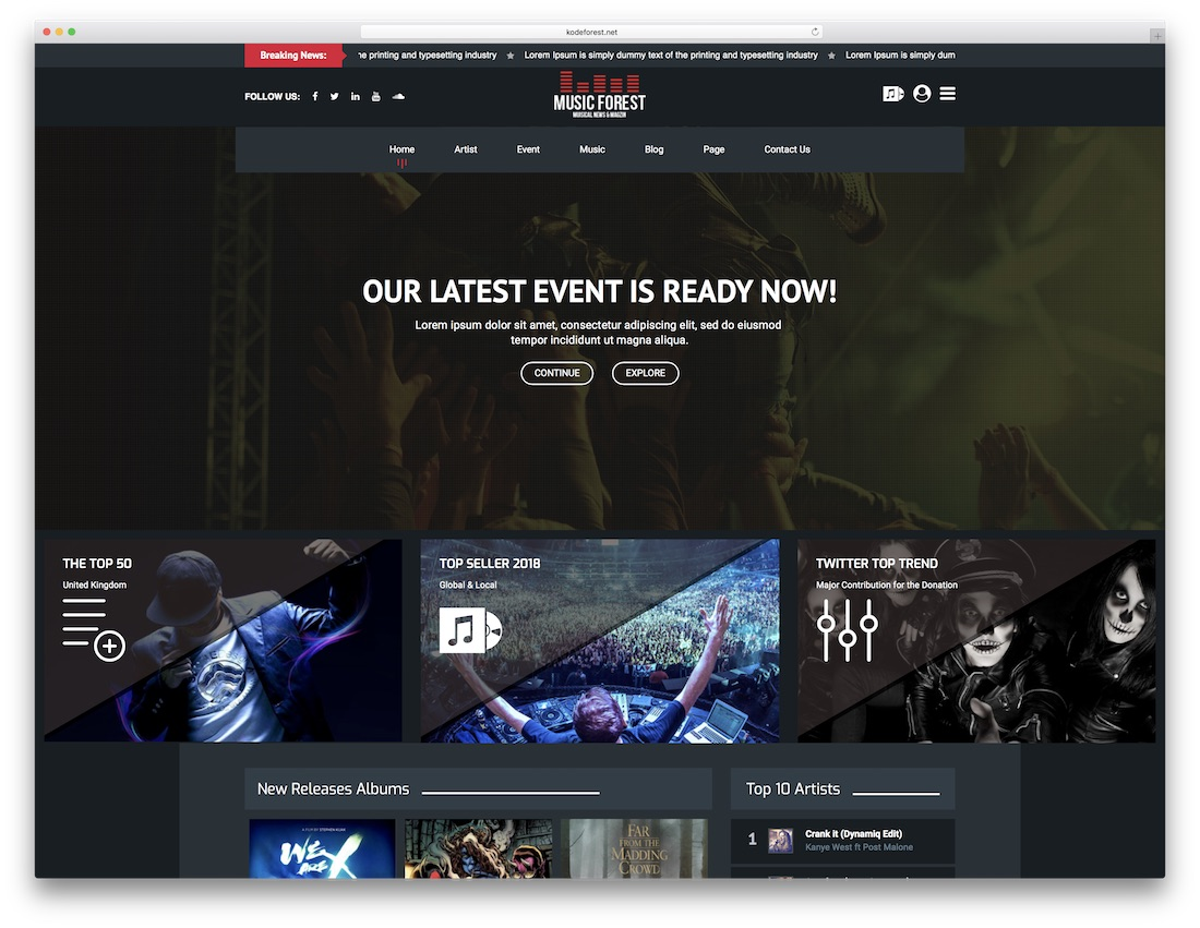 musicforest music website template