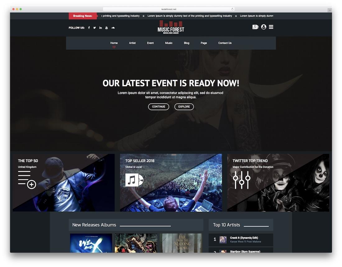 musicforest musician website template