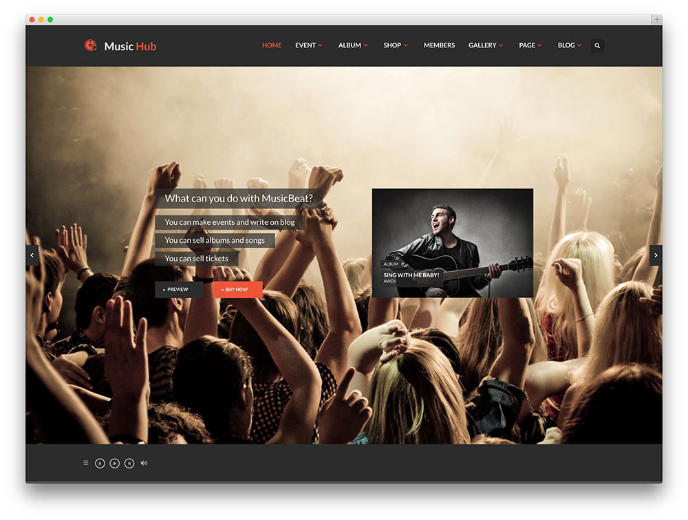 musichub fullscreen music theme