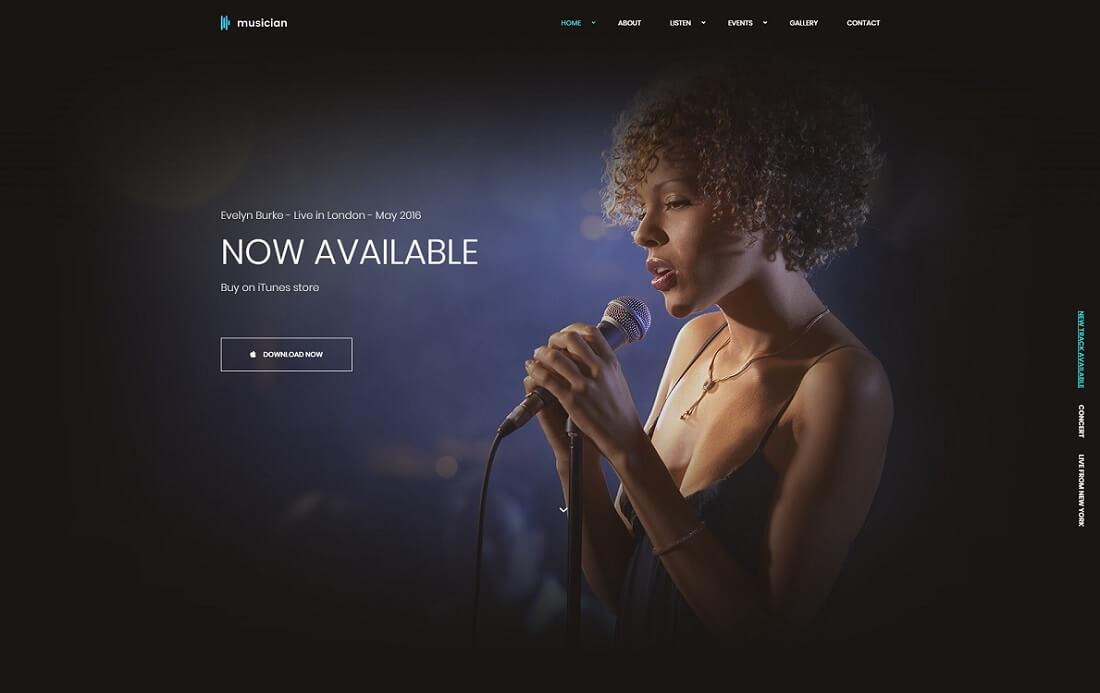 musician artist website template