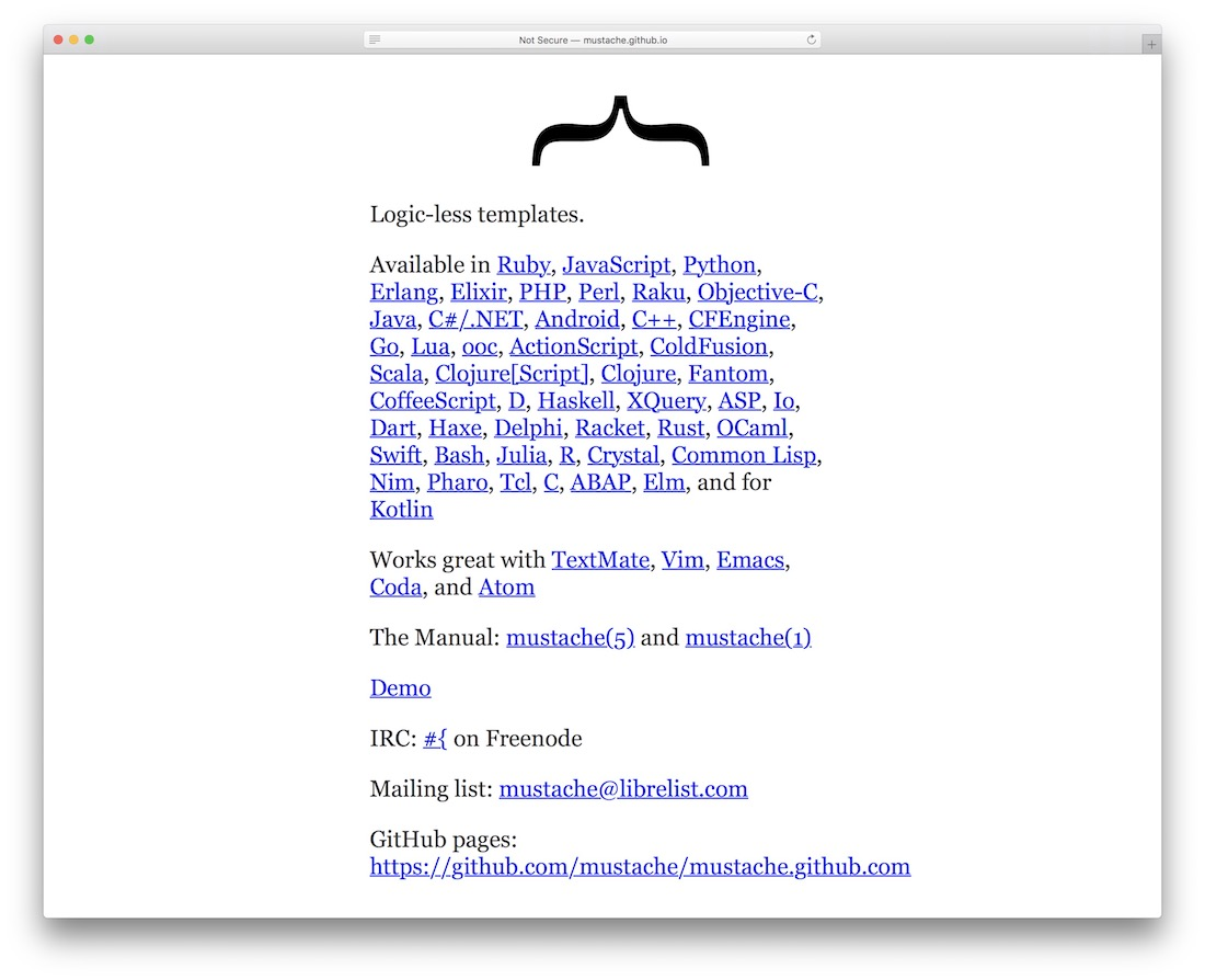 mustache templating engine for javascript