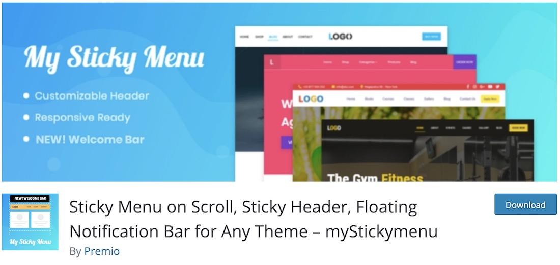my sticky menu wordpress plugin