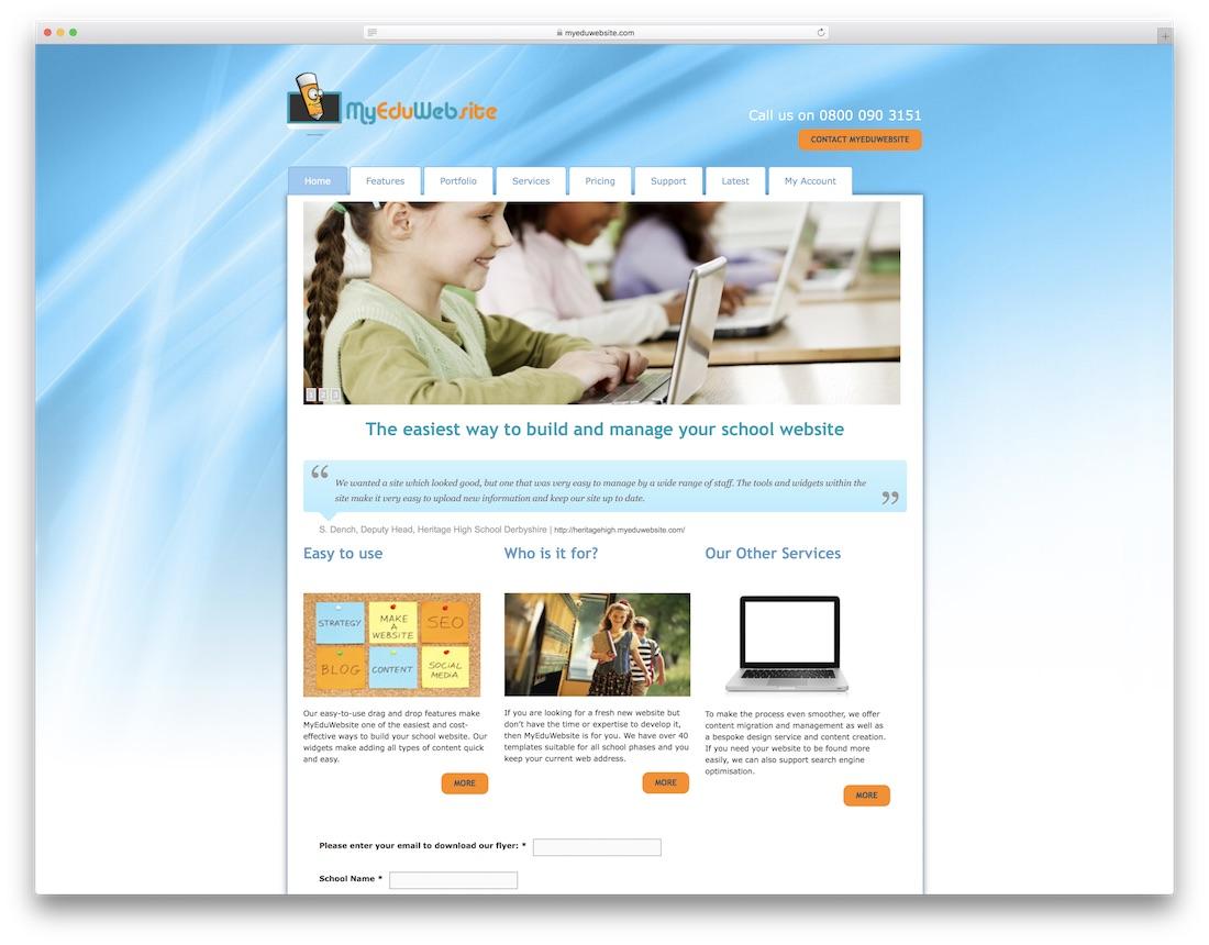 myeduwebsite education website builder