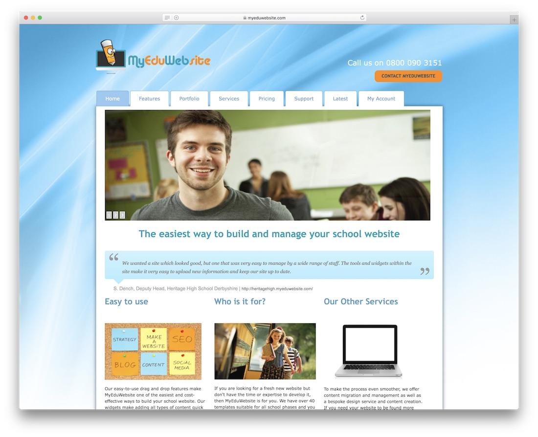 myeduwebsite school and teacher website builder