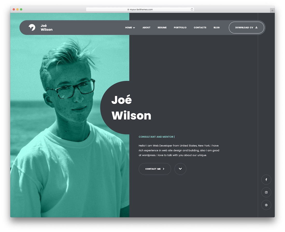 myour wordpress resume theme