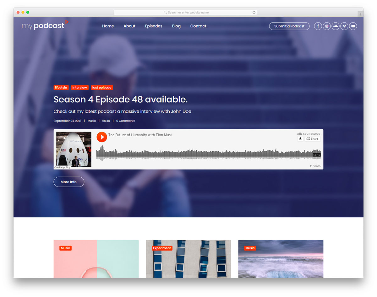 Mypodcast - Free Podcasting Website Template 2019
