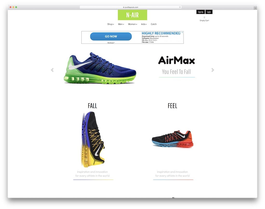 n-air free bootstrap ecommerce website template