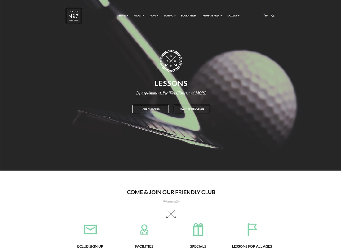 N7 | Golf Club, Sports & Events WordPress Theme