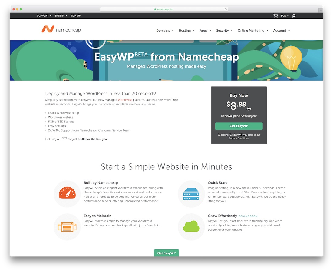 namecheap cheap hosting for wordpress