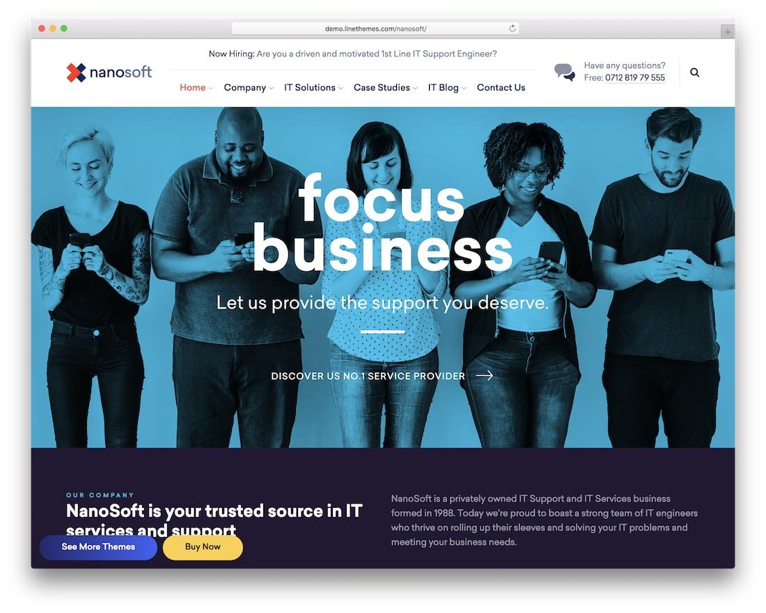 nanosoft it company wordpress theme