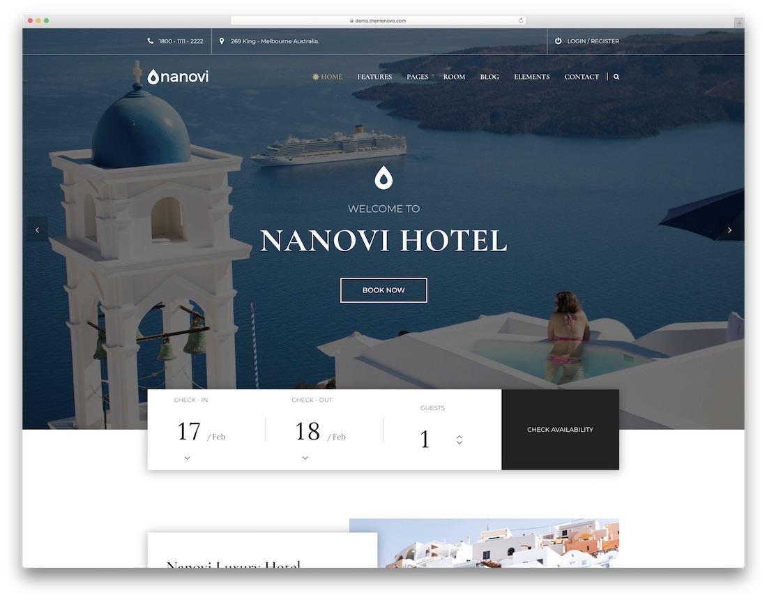 nanovi hotel wordpress theme