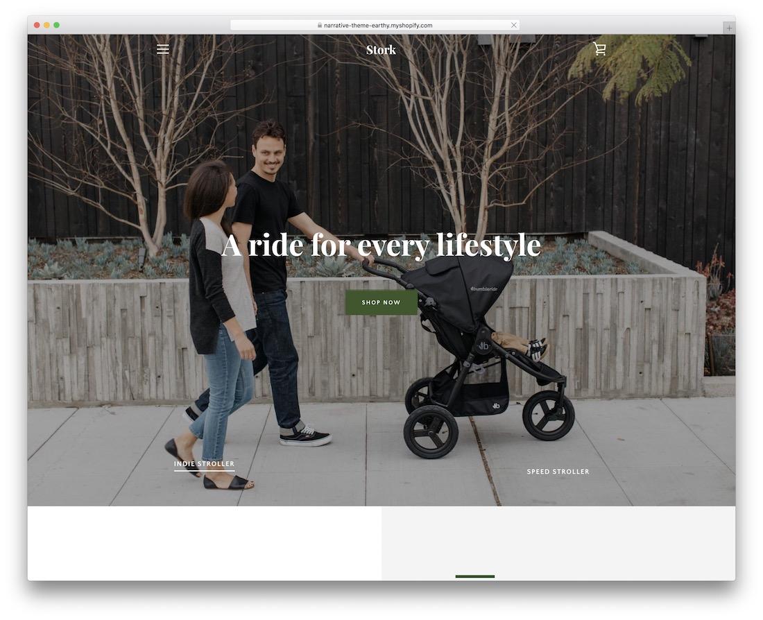 narrative shopify landing page theme