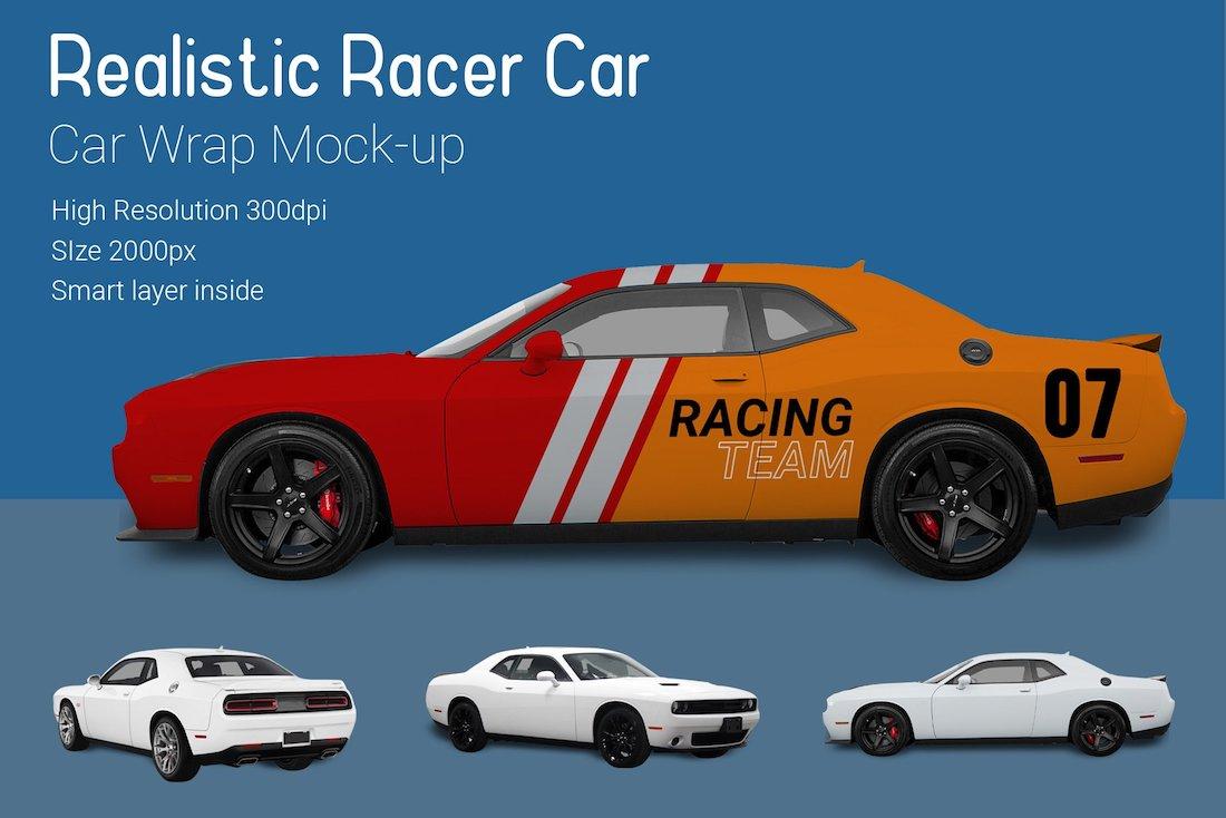 nascar racer car mockup