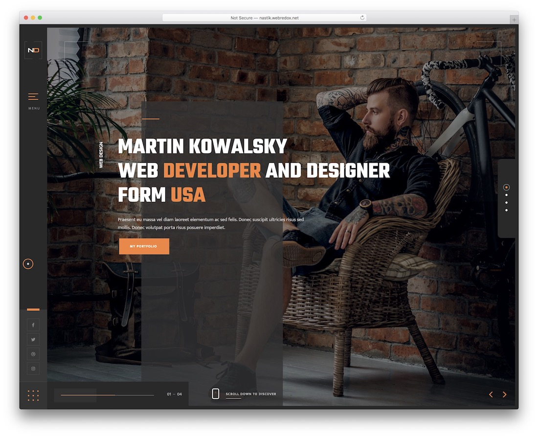 nastik portfolio website template