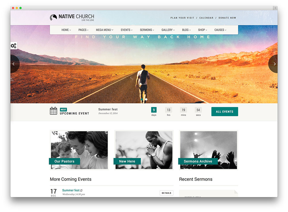 native vintage church wordpress theme