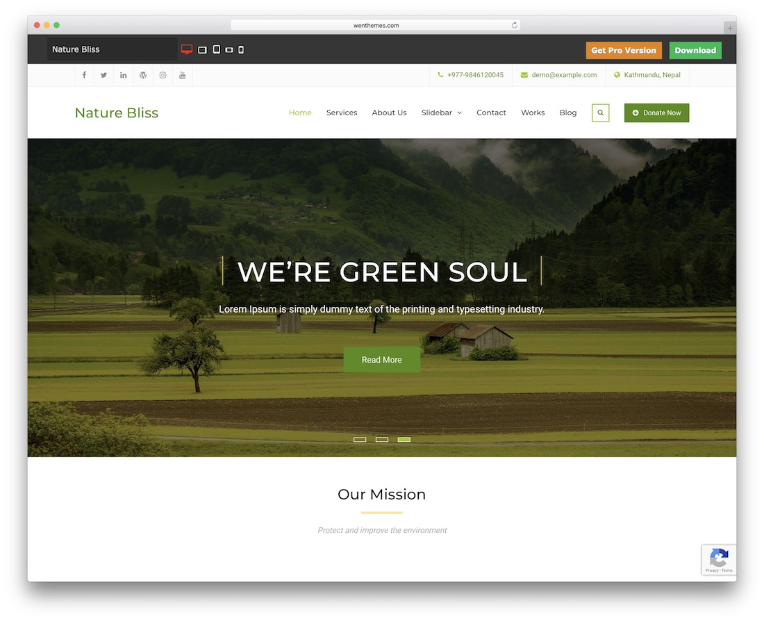 nature bliss free wordpress theme