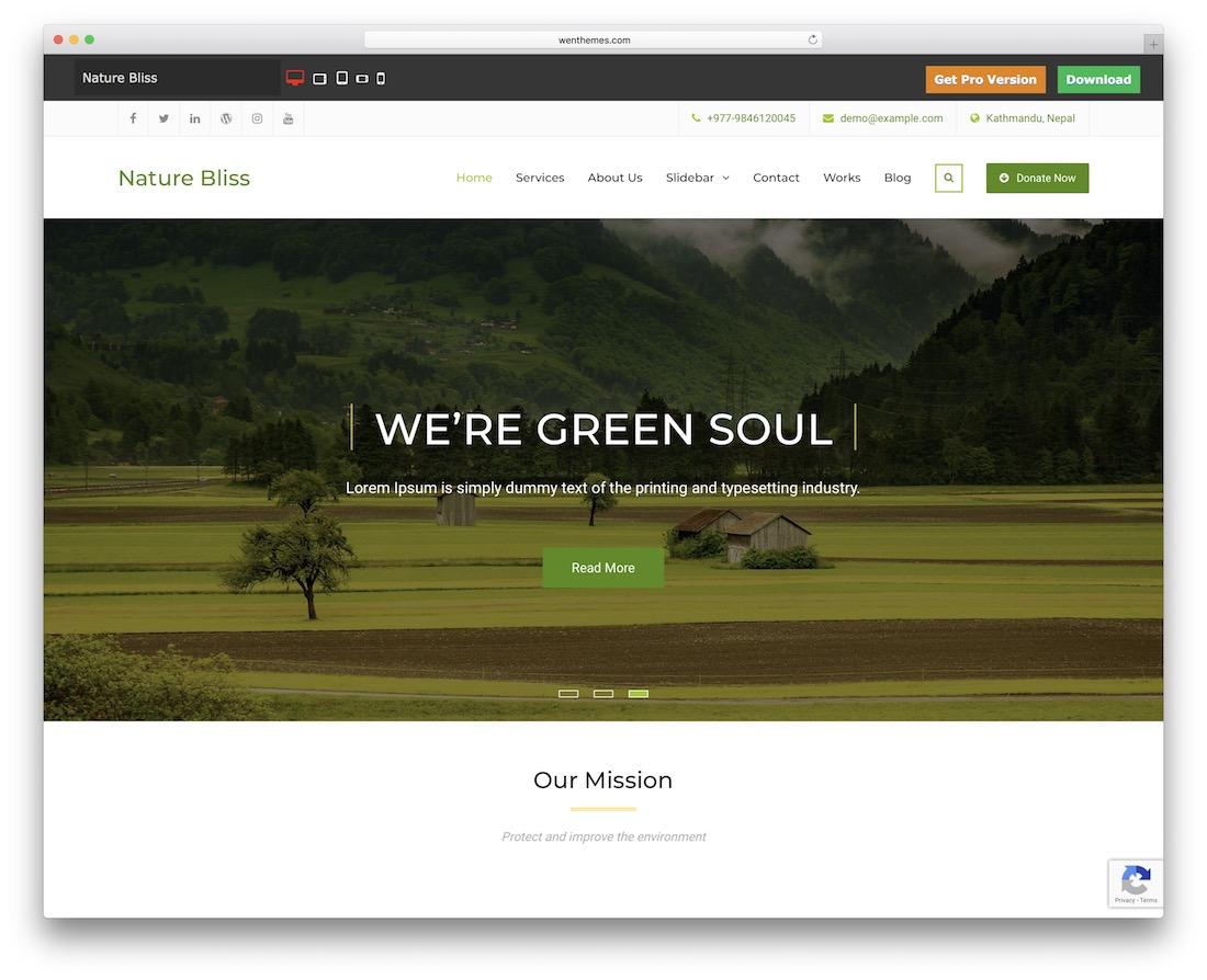 nature bliss free wordpress theme