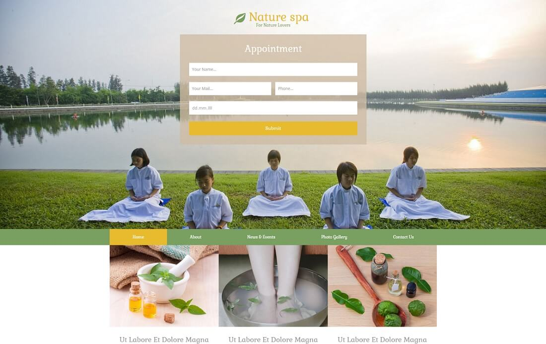 nature spa free simple html template