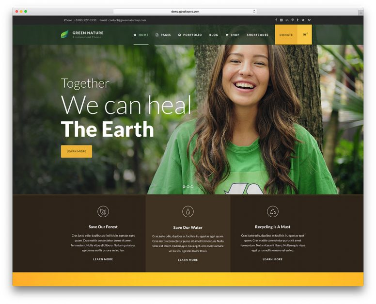 Top 20 Premium Nature WordPress Themes 2018