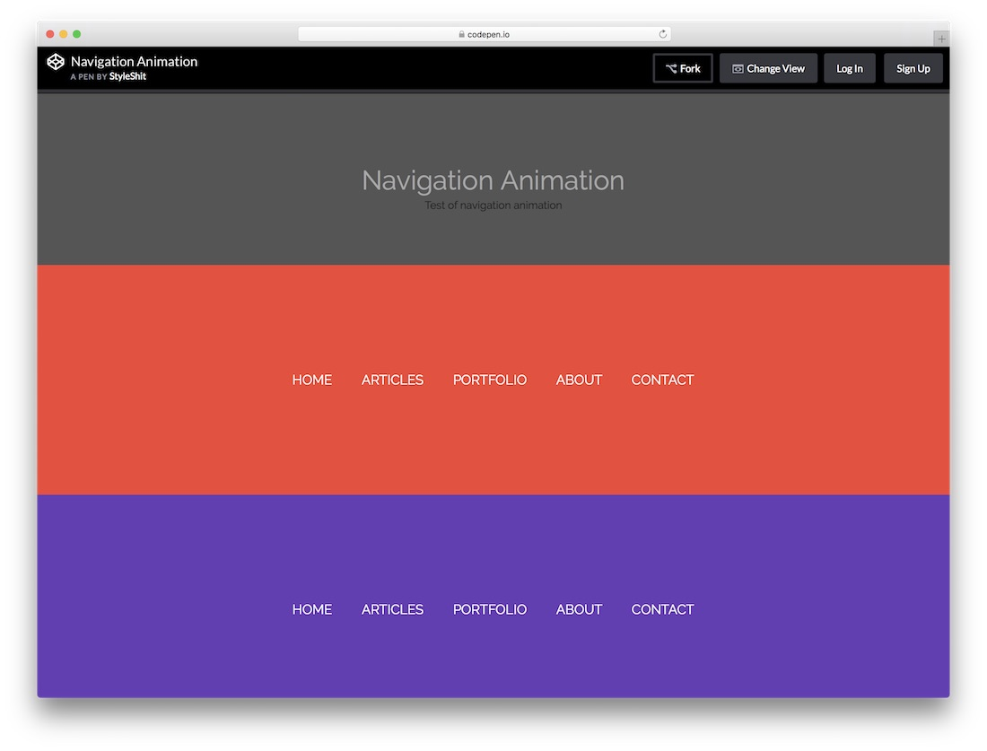 navigation animation menu