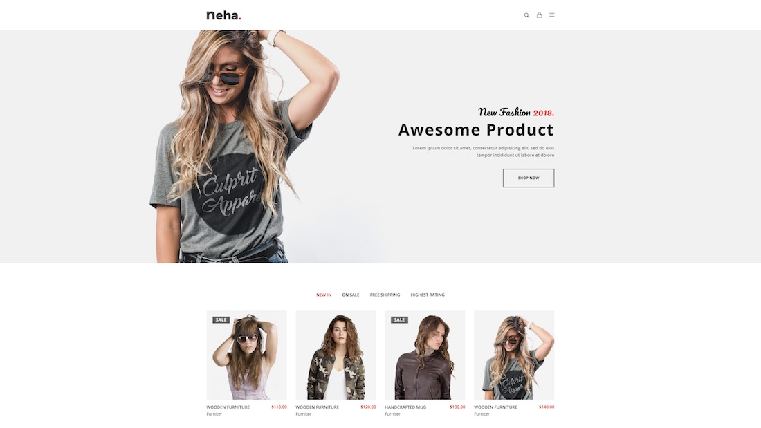 neha minimal ecommerce website template