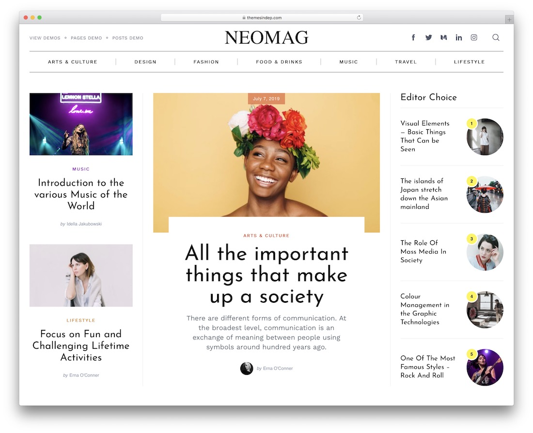 neomag clean wordpress theme