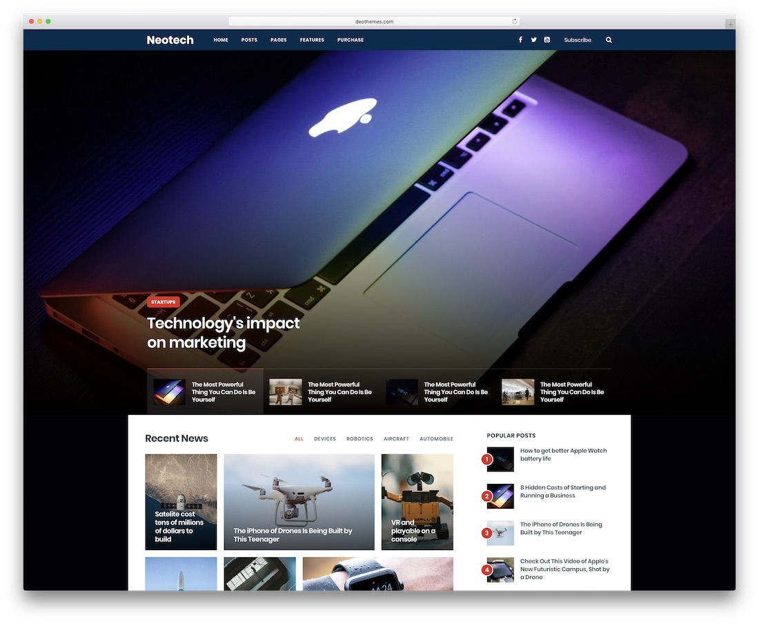 neotech news website template