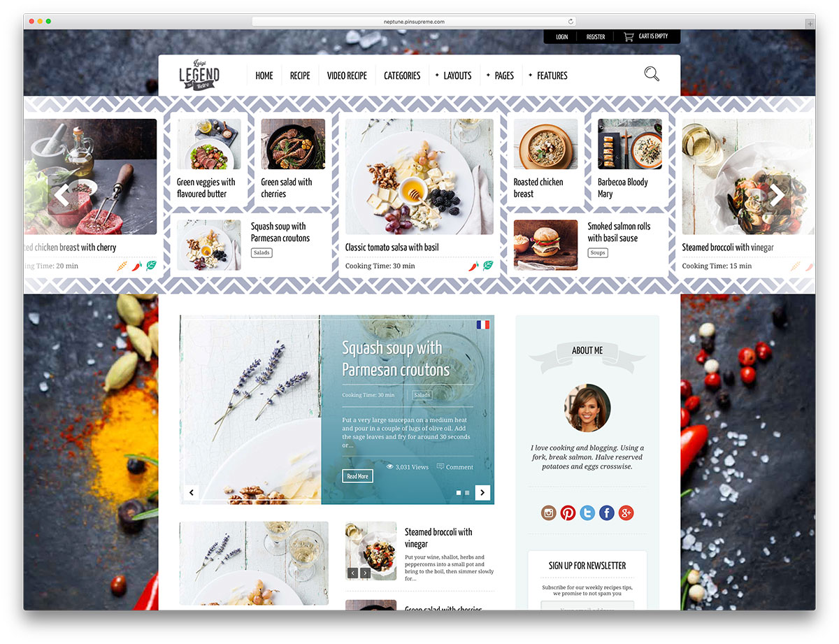 25 awesome food wordpress themes to share recipes 2018 colorlib neptune food recipe wordpress theme forumfinder Gallery
