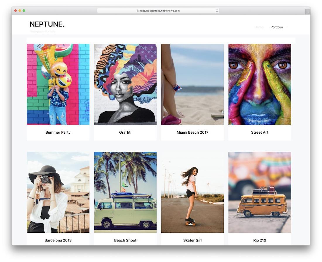 neptune portfolio free wordpress theme