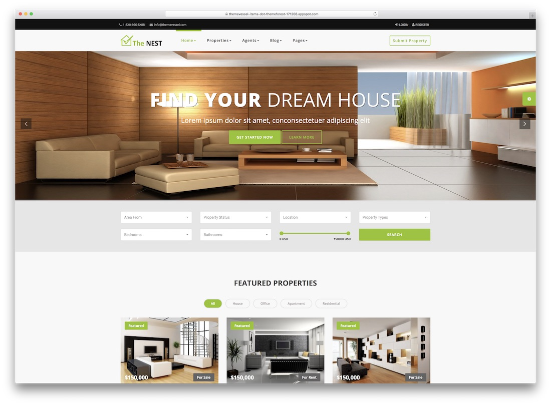 nest directory website template