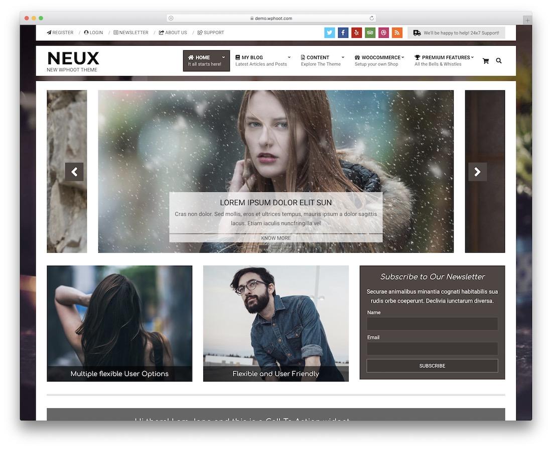 neux free parallax scrolling wordpress theme