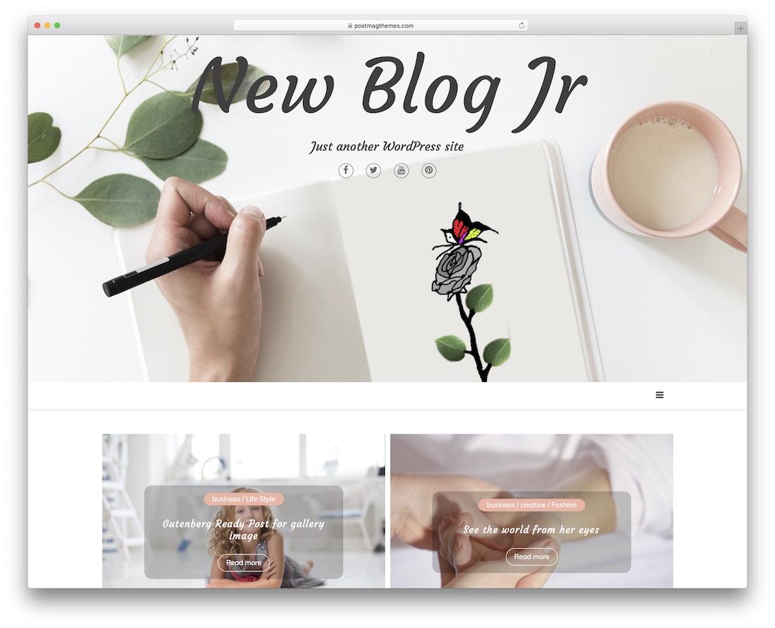 new blog jr free minimal wordpress theme