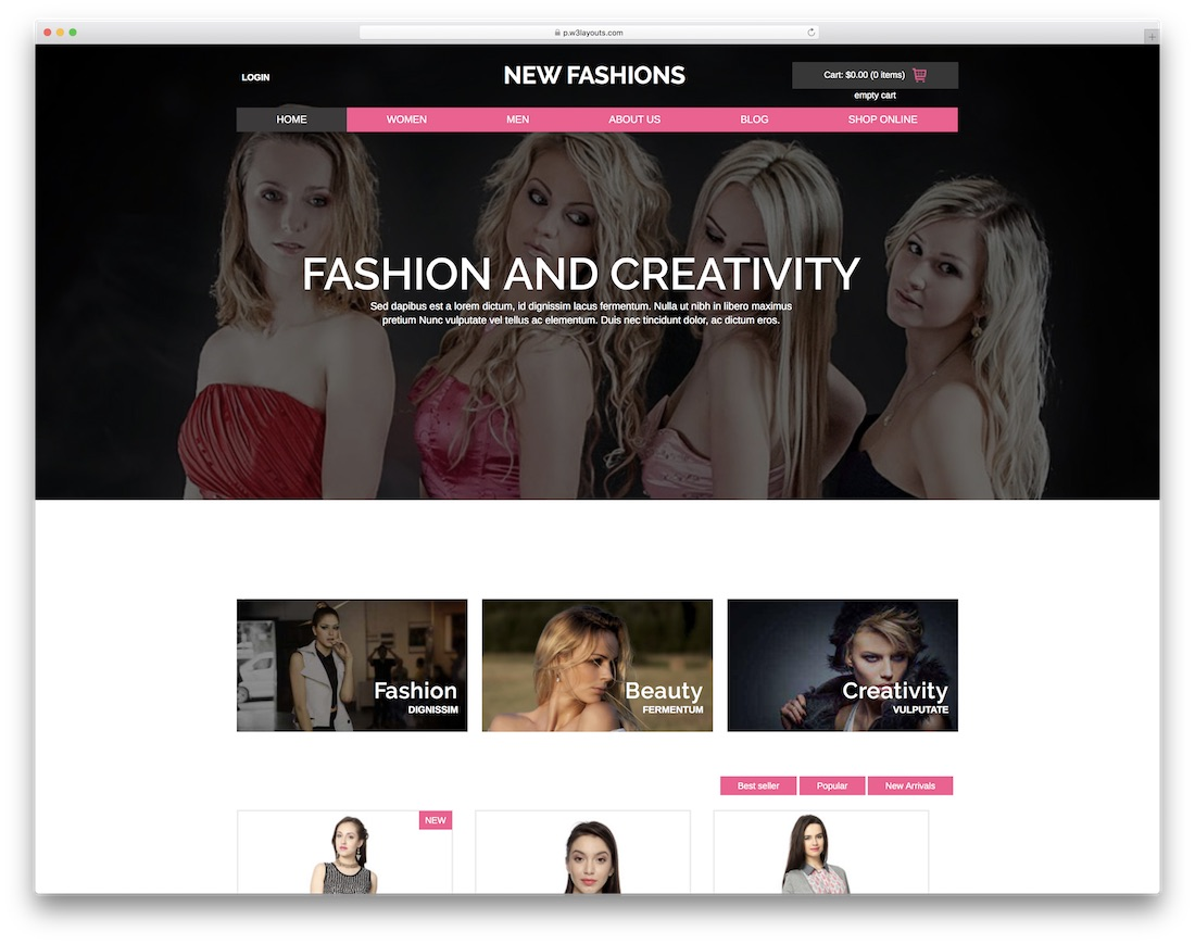 new fashions free bootstrap ecommerce website template