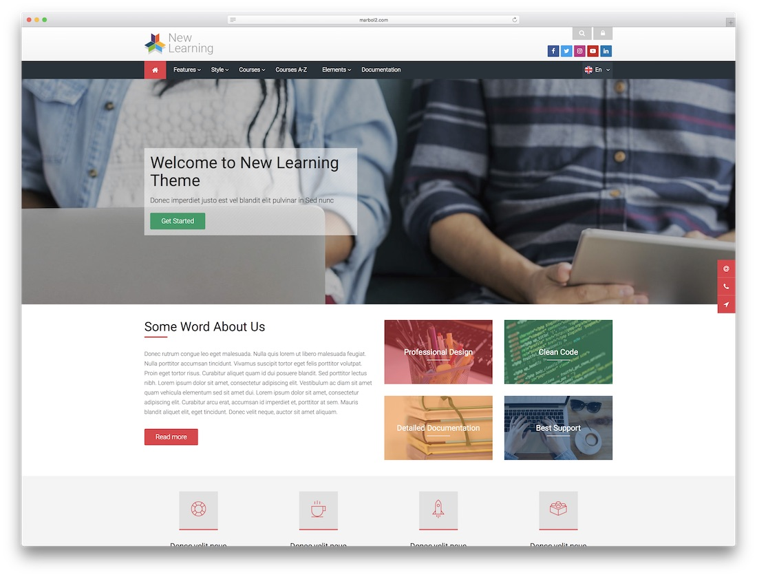 new learning moodle bootstrap template