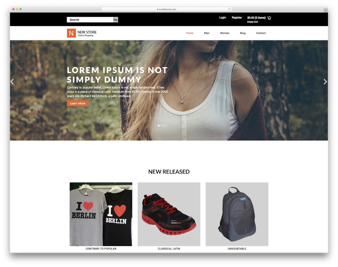 new store free bootstrap ecommerce website template