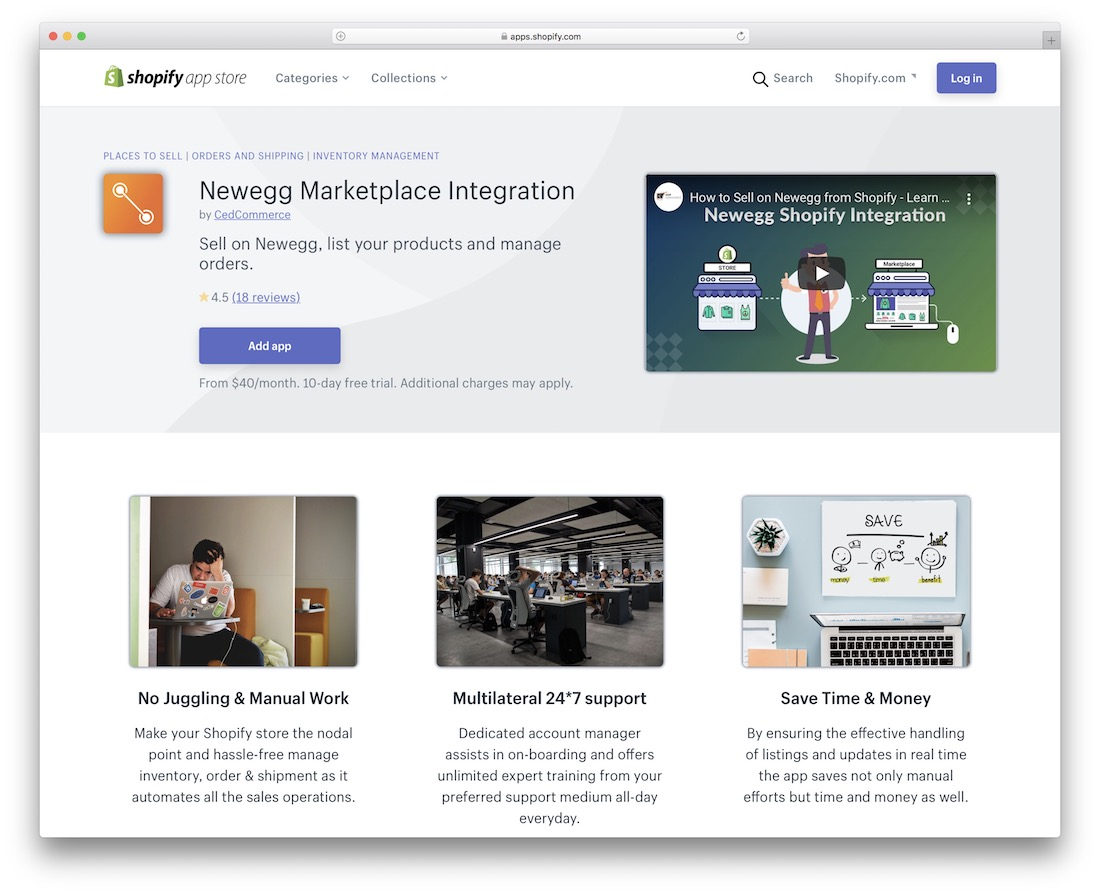 newegg shopify marketplace app
